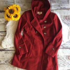 Michael Kors red hoodie pea coat